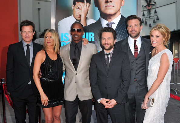 "(L-R) Actors Jason Bateman, Jennifer Aniston, Jamie Foxx, Charlie Day, Jason Sudeikis, and Julie Bowen arrive at the premiere of Warner Bros. Pictures' ""Horrible Bosses"" at Grauman's Chinese Theatre on June 30, 2011 in Hollywood, California."