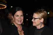 """Marcia Gay Harden (L) and Dianne Wiest arrive at the premiere of Warner Bros. Pictures' """"The Mule"""" at the Village Theatre on December 10, 2018 in Los Angeles, California."""
