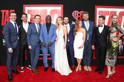 "Jon Hamm, Jeff Tomsic, Ed Helms, Hannibal Buress, Annabelle Wallis, Jake Johnson, Isla Fisher, Steve Berg, Jeremy Renner and Leslie Bibb attend the Premiere Of Warner Bros. Pictures And New Line Cinema's ""Tag"" at Regency Village Theatre on June 7, 2018 in Westwood, California."