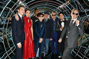 """Tye Sheridan, Olivia Cooke, Lena Waithe, Philip Zhao, Steven Spielberg, Simon Pegg, Win Morisaki and Ben Mendelsohn attend the Premiere of Warner Bros. Pictures' """"Ready Player One"""" at Dolby Theatre on March 26, 2018 in Hollywood, California."""