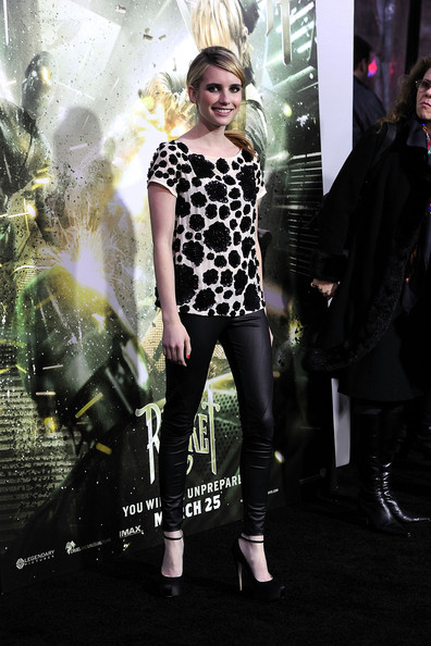 "Actress Emma Roberts arrives at the premiere of Warner Bros Pictures' ""Sucker Punch"" at Grauman's Chinese Theatre on March 23, 2011 in Hollywood, California. (Photo by Frazer Harrison/Getty Images) on March 23, 2011 in Los Angeles, California."