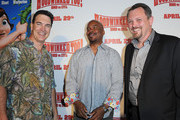 (L-R) Actors Patrick Warburton and David Alan Grier with director Mike Disa attend the HOODWINKED TOO! HOOD vs EVIL Premiere Hosted by Heidi Klum, Maurice Kanbar and Harvey Weinstein at the Pacific Theaters at The Grove on April 16, 2011 in Los Angeles, California.