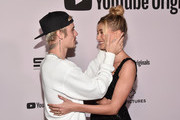 """Justin Bieber and Hailey Bieber attend the premiere of YouTube Original's """"Justin Bieber: Seasons"""" at the Regency Bruin Theatre on January 27, 2020 in Los Angeles, California."""