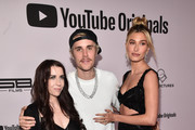 """Pattie Mallette, Justin Bieber and Hailey Bieber attend the premiere of YouTube Original's """"Justin Bieber: Seasons"""" at the Regency Bruin Theatre on January 27, 2020 in Los Angeles, California."""