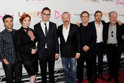 "(L-R) Actors Oscar Issac, Christina Hendricks, director Nicolas Winding Refn, actors Bryan Cranston, Albert Brooks, Ryan Gosling and Ron Perlman arrive at the Los Angeles Film Festival's special screening of ""Drive"" at the L.A. Live Regal Cinemas on June 17, 2011 in Los Angeles, California."