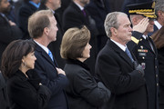(AFP OUT) Members of the Bush family, including Former First Lady Laura Bush and President George W. Bush, look on as the flag-draped casket of President George H.W. Bush is transported from the U.S. Capitol to the Washington National Cathedral on December 5, 2018 in Washington, DC. President Bush will be buried at his final resting place at the George H.W. Bush Presidential Library at Texas A&M University in College Station, Texas. A WWII combat veteran, Bush served as a member of Congress from Texas, ambassador to the United Nations, director of the CIA, vice president and 41st president of the United States.