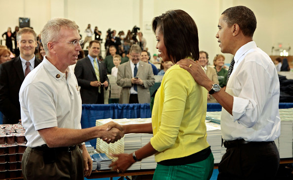 "(AFP OUT) Rep. Todd Platts (R-PA) (L) greets U.S. first lady Michelle Obama and President Barack Obama (R) during a United We Serve event at Fort McNair June 25, 2009 in Washington, DC. Helping to fill 10,000 backpacks for children of military servicemen and women, the first family stuffed copies of ""The Lightning Thief,"" by Rick Riordan, and ""The Penderwicks,"" by Jeanne Birdsall into backpacks along with food items and a personal letter from the president and the first lady."