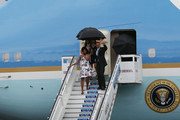 President Barack Obama, Michelle Obama and Sasha Obama (R) arrive at Jose Marti International Airport on Airforce One for a 48-hour visit on March 20, 2016 in Havana, Cuba. Mr. Obama's visit is the first in nearly 90 years for a sitting president, the last one being Calvin Coolidge.