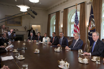 Nancy Pelosi Eric Cantor President Obama Meets With Congressional Leadership At The White House