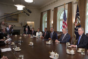 U.S. President Barack Obama (3rd R) meets with congressional leaders including Senate Minority Leader Mitch McConnell (R-KY), Senate Majority Leader Harry Reid (D-NV) (2nd R), House Speaker John Boehner (R-OH) (C),  House Minority Leader Nancy Pelosi (D-CA) (3rd L), House Majority Leader Eric Cantor (R-VA) (2nd L) and House Minority Whip Steny Hoyer (D-MD) in the Cabinet Room of the White House July 7, 2011 in Washington, D.C. The Obama administration and congressional leaders are attempting to hammer out a deal that would lower the deficit as a House Republican majority stipulation for a vote on increasing the nation's debt ceiling.