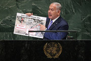 Prime Minister of Israel Benjamin Netanyahu shows a visual aid while addressing the United Nations General Assembly on September 27, 2018 in New York City. World leaders gathered for the 73rd annual meeting at the UN headquarters in Manhattan.