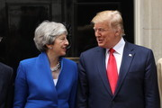 (L-R) British Prime Minister Theresa May and US President Donald Trump arrive at 10 Downing street for a meeting on the second day of the U.S. President and First Lady's three-day State visit on June 4, 2019 in London, England. President Trump's three-day state visit began with lunch with the Queen, followed by a State Banquet at Buckingham Palace, whilst today he will attend business meetings with the Prime Minister and the Duke of York, before travelling to Portsmouth to mark the 75th anniversary of the D-Day landings.