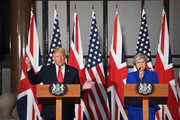 Prime Minister Theresa May and US President Donald Trump attend a joint press conference at the Foreign & Commonwealth Office during the second day of his State Visit on June 4, 2019 in London, England. President Trump's three-day state visit began with lunch with the Queen, followed by a State Banquet at Buckingham Palace, whilst today he will attend business meetings with the Prime Minister and the Duke of York, before travelling to Portsmouth to mark the 75th anniversary of the D-Day landings.