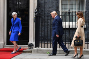 Prime Minister Theresa May welcomes US President Donald Trump and First Lady Melania Trump to 10 Downing Street, during the second day of his State Visit on June 4, 2019 in London, England. President Trump's three-day state visit began with lunch with the Queen, followed by a State Banquet at Buckingham Palace, whilst today he will attend business meetings with the Prime Minister and the Duke of York, before travelling to Portsmouth to mark the 75th anniversary of the D-Day landings.