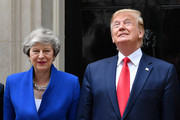 Prime Minister Theresa May welcomes US President Donald Trump to 10 Downing Street, during the second day of his State Visit on June 4, 2019 in London, England. President Trump's three-day state visit began with lunch with the Queen, followed by a State Banquet at Buckingham Palace, whilst today he will attend business meetings with the Prime Minister and the Duke of York, before travelling to Portsmouth to mark the 75th anniversary of the D-Day landings.