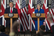 US President Donald Trump and Prime Minister Theresa May take questions from journalists during a joint press conference at the Foreign & Commonwealth Office during the second day of the President's State Visit on June 4, 2019 in London, England. President Trump's three-day state visit began with lunch with the Queen, followed by a State Banquet at Buckingham Palace, whilst today he will attend business meetings with the Prime Minister and the Duke of York, before travelling to Portsmouth to mark the 75th anniversary of the D-Day landings.