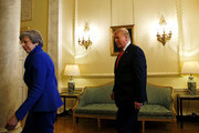 Prime Minister Theresa May meets with US President Donald Trump during a visit to 10 Downing Street, during the second day of the president's State Visit on June 4, 2019 in London, England. President Trump's three-day state visit began with lunch with the Queen, followed by a State Banquet at Buckingham Palace, whilst today he will attend business meetings with the Prime Minister and the Duke of York, before travelling to Portsmouth to mark the 75th anniversary of the D-Day landings.