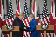 US President Donald Trump and Prime Minister Theresa May shake hands during a joint press conference at the Foreign & Commonwealth Office during the second day of the President's State Visit on June 4, 2019 in London, England. President Trump's three-day state visit began with lunch with the Queen, followed by a State Banquet at Buckingham Palace, whilst today he will attend business meetings with the Prime Minister and the Duke of York, before travelling to Portsmouth to mark the 75th anniversary of the D-Day landings.