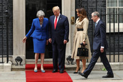 (L-R) British Prime Minister Theresa May, US President Donald Trump, First Lady Melania Trump and Philip May arrive at 10 Downing street for a meeting on the second day of the U.S. President and First Lady's three-day State visit on June 4, 2019 in London, England. President Trump's three-day state visit began with lunch with the Queen, followed by a State Banquet at Buckingham Palace, whilst today he will attend business meetings with the Prime Minister and the Duke of York, before travelling to Portsmouth to mark the 75th anniversary of the D-Day landings.