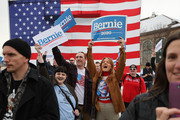 Supporters cheer for Democratic presidential candidate Sen. Bernie Sanders (I-VT) during a campaign rally in the Central Mall of the Utah State Fair Park March 02, 2020 in Salt Lake City, Utah. Sanders is campaigning in Utah and Minnesota the day before Super Tuesday, when 1,357 Democratic delegates in 14 states across the country will be up for grabs.