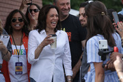 Democratic presidential candidate U.S. Sen. Kamala Harris (D-CA), her husband Douglas Emhoff and her sister Maya Harris prior to her delivering a campaign speech at the Des Moines Register Political Soapbox at the Iowa State Fair on August 10, 2019 in Des Moines, Iowa. 22 of the 23 politicians seeking the Democratic Party presidential nomination will be visiting the fair this week, six months ahead of the all-important Iowa caucuses.
