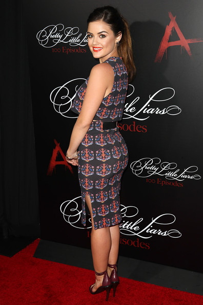 Actress/singer Lucy Hale attends the 'Pretty Little Liars' 100th episode celebration at W Hollywood on May 31, 2014 in Hollywood, California.