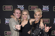 Ian Ward, Callandra Olivia and Frankie Grande attend Preview Of Rock of Ages Hollywood At The Bourbon Room on December 18, 2019 in Hollywood, California.