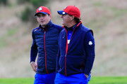 Phil Mickelson of the United States talks to Keegan Bradley (L) during practice ahead of the 2014 Ryder Cup on the PGA Centenary course at the Gleneagles Hotel on September 25, 2014 in Auchterarder, Scotland.
