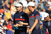 Bubba Watson of the United States and Webb Simpson of the United States during practce prior to the 2018 Ryder Cup at Le Golf National on September 27, 2018 in Paris, France.