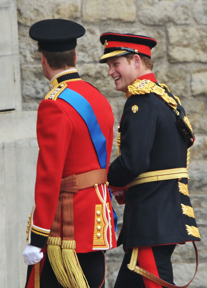 Prince Harry Prince William and Prince Harry share a joke as they arrive to