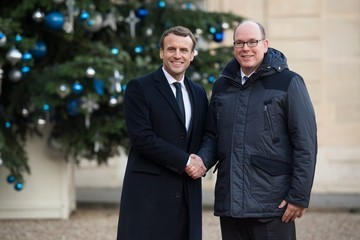 Prince Albert II French President Emmanuel Macron Receives One Planet Summit's International Philanthropists at Elysee Palace in Paris
