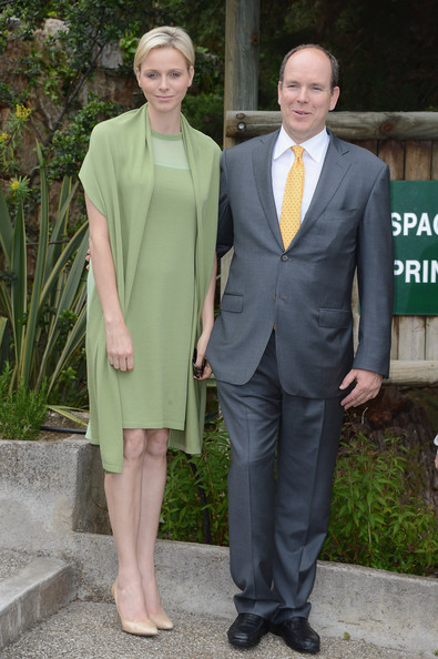 Princess Charlene of Monaco and Prince Albert II of Monaco visit the Les Devens Leisure centre at La Turbie on May 9, 2012 in Monaco, Monaco.