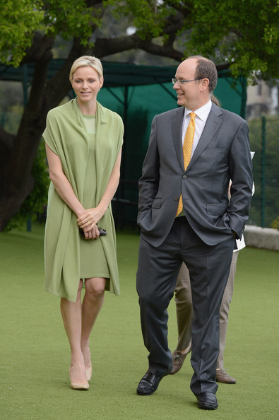 Princess Charlene of Monaco (L) and Prince Albert II of Monaco attend the visit of Prince Albert II Leisure centre at La Turbie on May 9, 2012 in Monaco, Monaco.