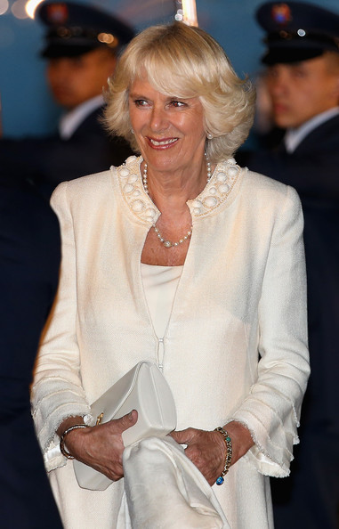 Camilla, Duchess of Cornwall arrives into Bogota Military Airport on October 28, 2014 in Bogota, Colombia. The Royal Couple are on a four day visit to Colombia as part of a Royal tour to Colombia and Mexico. After fifty years of armed conflict in Colombia the theme for the visit is Peace and Reconciliation.