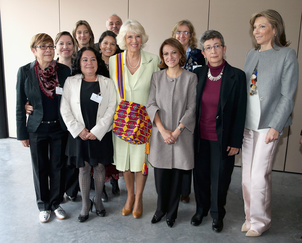 Camilla, Duchess of Cornwall and First Lady of Colombia Maria Clemencia Rodriguez Múneraposes pose with victims and campaigners against Sexual Violence at the Peace and Reconciliation Centre on October 30, 2014 in Bogota, Colombia. The Royal Couple are on a four day visit to Colombia as part of a Royal tour to Colombia and Mexico. After fifty years of armed conflict in Colombia the theme for the visit is Peace and Reconciliation.