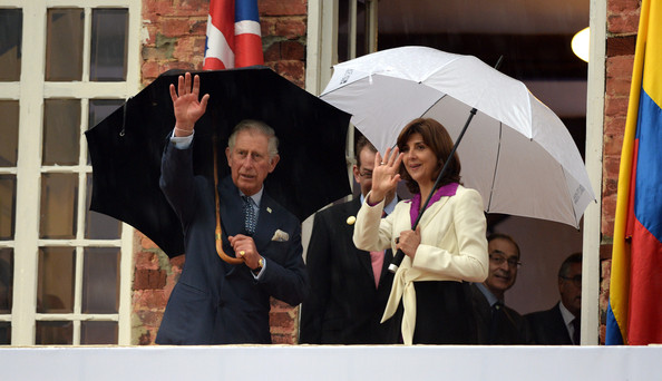 Prince Charles, Prince of Wales, Vice Royal Patron, and the Foreign Minister Maria Angela Holguin attend a celebration marking the 75th Anniversary of the British Council in Colombia at Gimnasio Moderno School, on October 29, 2014 in Bogota, Colombia. The Royal Couple are on a four day visit to Colombia as part of a Royal tour to Colombia and Mexico. After fifty years of armed conflict in Colombia the theme for the visit is Peace and Reconciliation.