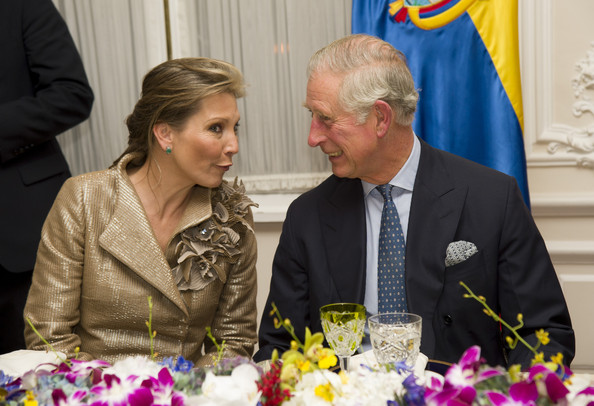 Prince Charles, Prince of Wales and  First Lady of Colombia María Clemencia Rodríguez Múnera attend a State Dinner at the Presidential Palace on October 29, 2014 in Bogota, Colombia. The Royal Couple are on a four day visit to Colombia as part of a Royal tour to Colombia and Mexico. After fifty years of armed conflict in Colombia the theme for the visit is Peace and Reconciliation.