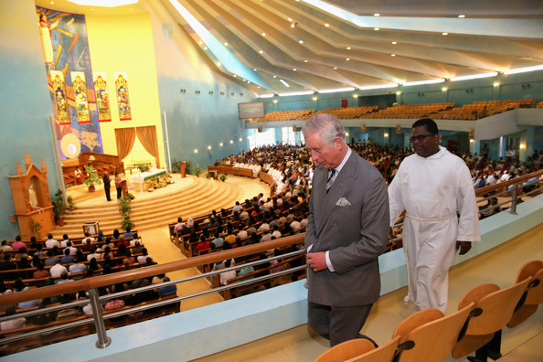 Prince Charles, Prince of Wales with Father Selvaraj Arockiam at the Catholic Church of OUr Lady of the Rosary on February 21, 2014 in Doha, Qatar. The Prince is on a three day solo visit to Qatar following a short visit to Saudi Arabia.