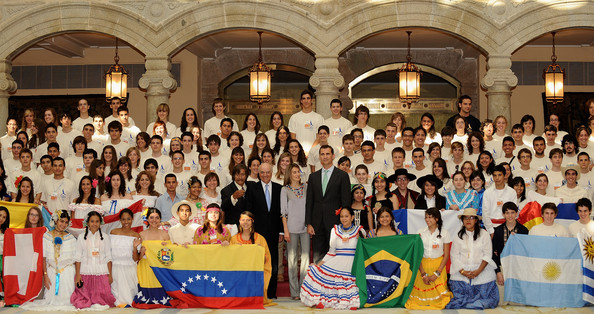 Prince Felipe and Princess Letizia of Spain (C) receive Ruta Quetzal members and young Iberoamerican journalists at El Pardo Palace on July 9, 2009 in Madrid, Spain.