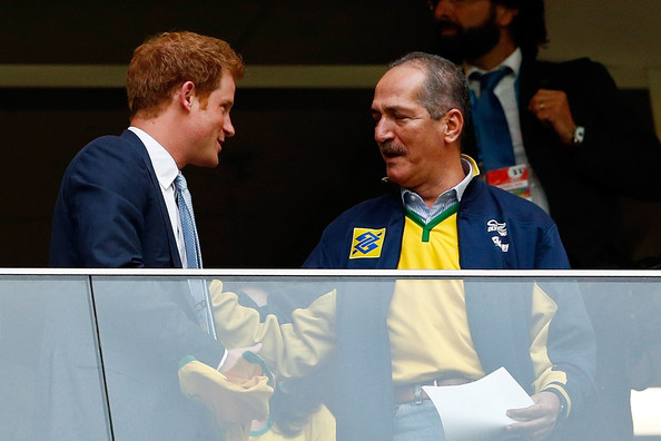 Prince Harry Prince Harry (L) speaks to Brazil Minister of Sport Aldo Rebelo during the 2014 FIFA World Cup Brazil Group A match between Cameroon and Brazil at Estadio Nacional on June 23, 2014 in Brasilia, Brazil.