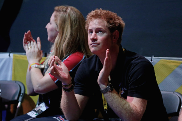 Prince Harry Prince Harry applauds during the Men's Lightweight Powerlifting event on Day 4 of the Invictus Games at Olympic Park on September 14, 2014 in London, England.