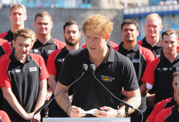 Prince Harry Prince Harry gives a speech with the British Armed Forces team during the British Armed Forces team announcement ahead of the Invictus Games at Potters Field Park on August 13, 2014 in London, England.