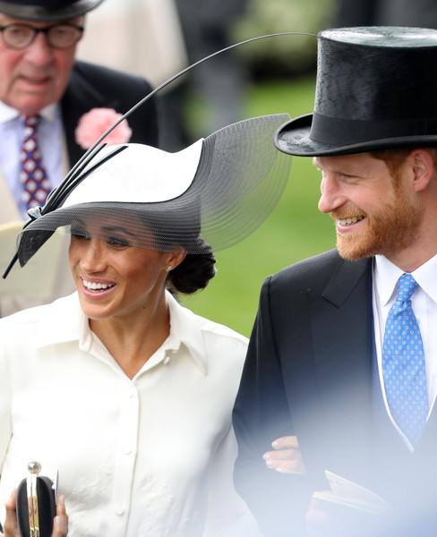 Royal Ascot 2018 - Day 1 [fashion accessory,hat,headgear,fedora,smile,cowboy hat,fun,suit,gentleman,product,ascot,duchess,sussex,united kingdom,ascot racecourse,duke of sussex,harry,meghan]