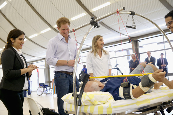 Prince Harry meets patients at the Rede Sarah Hospital for Nerological Rehabilitation injuries on June 23, 2014 in Brasilia, Brazil.  Prince Harry is on a four day tour of Brazil that will be followed by Two days in Chile.