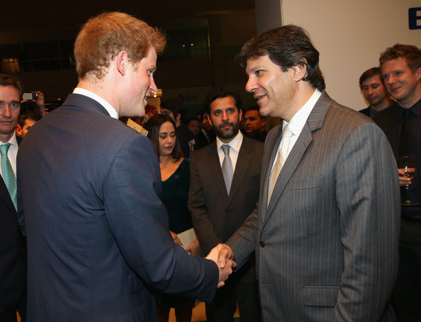Prince Harry greets Mayor of Sao Paulo Fernando Haddad as he attends a GREAT Britain reception on June 25, 2014 in Sao Paulo Brazil.  Prince Harry is on a four day tour of Brazil that will be followed by Two days in Chile.