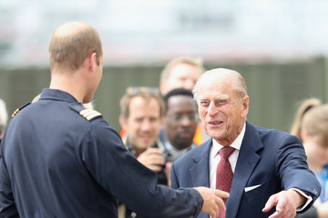 Prince Philip The Queen & Duke Of Edinburgh Open New Base Of East Anglian Air Ambulance At Cambridge Airport