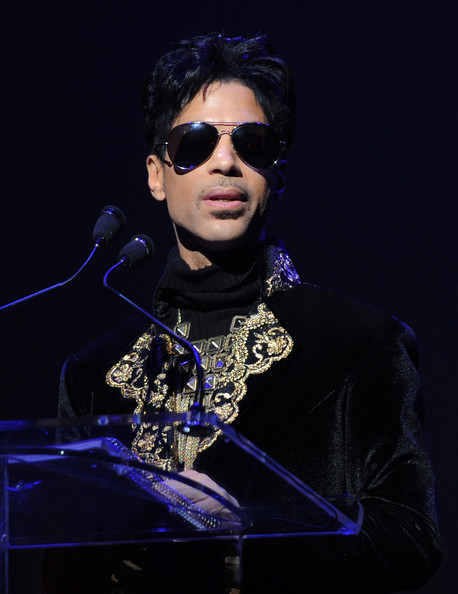 Prince Singer/musician Prince makes an announcement at The Apollo Theater on October 14, 2010 in New York City.