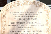 A plaque unveiled by Prince Charles, Prince of Wales and Camilla, Duchess of Cornwall at the reopening of Hillsborough Castle on April 09, 2019 in Belfast, Northern Ireland.