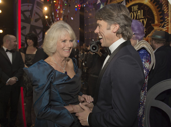 Camilla, Duchess of Cornwall meets John Bishop at the Royal Variety Performance at London Palladium on November 25, 2013 in London, England.