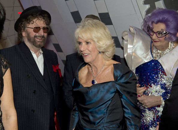 Camilla, Duchess of Cornwall meets Chas of Chas and Dave and Dame Edna at the Royal Variety Performance at London Palladium on November 25, 2013 in London, England.
